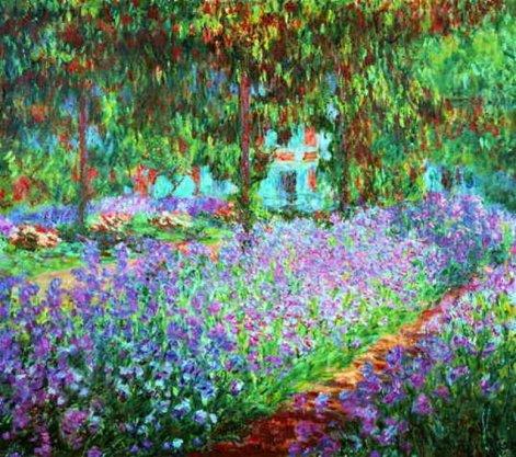 _Mone_Sad_Kart_ Monet's Garden, the Irises_Sin_IRISES_1